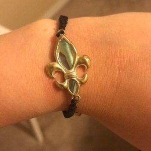 Fleur de lis bracelet, adjustable